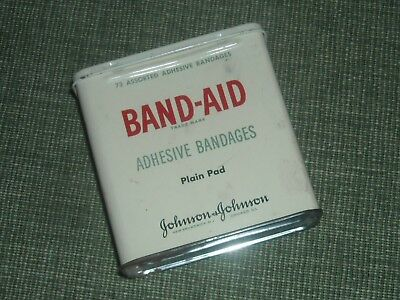 Vintage 1950's Band-Aid Tin Box ~ Johnson & Johnson ~ with Directions on Back!