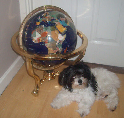 "Very Large 21"" High Blue  Globe With Semi-Precious Stone & Compass Inthe Base"