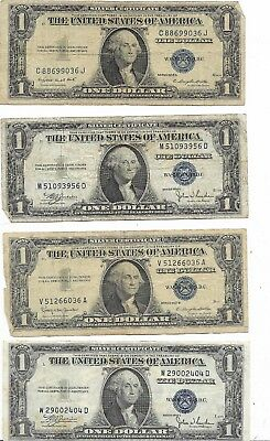 Lot Of 13 $1 Blue Seal Silver Certificates Various Dates $13 Face Value