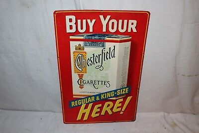 """Vintage 1940's Chesterfield Cigarettes Gas Oil 18"""" Embossed Metal Sign"""
