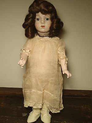 French Bisque Bebe Bru Jumeau Doll Repro Antique Dress High Button Boots Stand