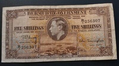 Bermuda 5 Shillings P8b 1937 In Fine Condition