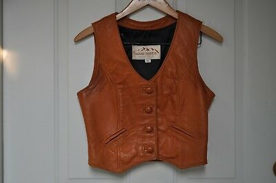 Colorado Trading Co. Camel Brown Leather Vest Size: XS Unisex