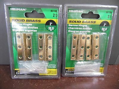 """Hillman 851188 Solid Brass 2"""" Narrow Hinges 2 PACKS OF 2 NEW [SX6]"""