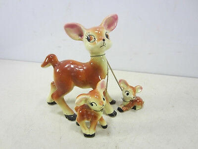 Vintage Made in Japan Ceramic Deer & 2 Fawns on Chains
