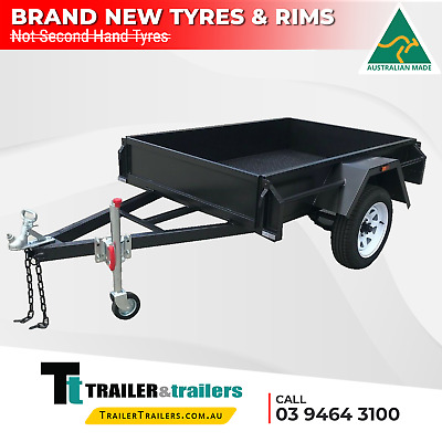6x4 SINGLE AXLE DOMESTIC H/DUTY BOX TRAILER |CHECKERPLATE FLOOR|TAILGATES|JOCKEY