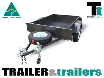 6x4 SINGLE AXLE DOMESTIC H/DUTY BOX TRAILER | SMOOTH FLOOR | FIXED FRONT | SPARE