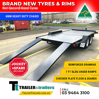 16x6'6 TANDEM AXLE HEAVY DUTY SEMI FLAT CAR CARRIER TRAILER -SPARE WHEEL +JOCKEY