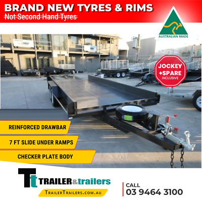 16x6'6 TANDEM CAR CARRIER TRAILER BOX STYLE SIDES - NEW WHEELS & TYRES - 1990kg