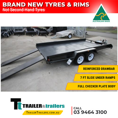 "14x6'6 TANDEM AXLE CAR CARRIER BOX TRAILER - 10"" SIDES - NEW WHEELS+TYRES+JOCKEY"