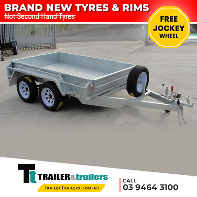 10x5 GALVANISED TANDEM TRAILER – NEW WHEELS & TYRES - SPARE - JOCKEY