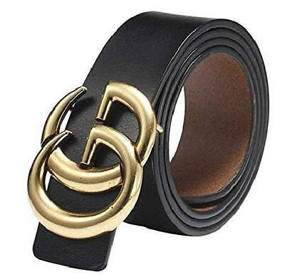 Womens Genuine Leather Thin Belt Vintage GG Buckle 0.9″ Wide Casual For Pants