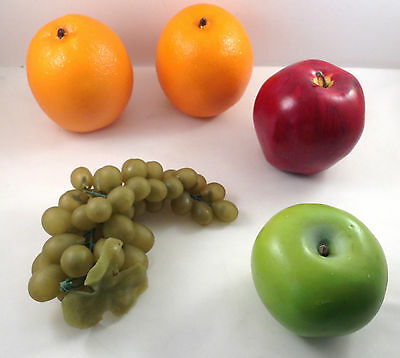 Fruit Plastic Rubber Stage Prop Play Orange Red Green Apple Grapes 5 Pcs Decor