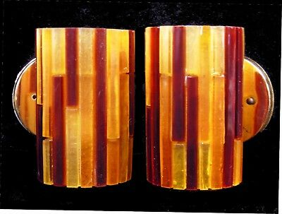 Pair Vintage Mid Century Mod Moe Lucite Stained Glass Wall Sconces Lights Lamps