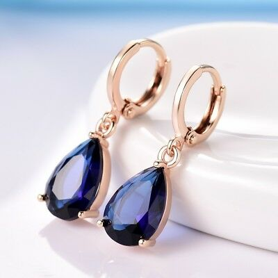 Pear Blue Sapphire Crystal Gold Filled Dangle Hoop Leverback Earrings For Women
