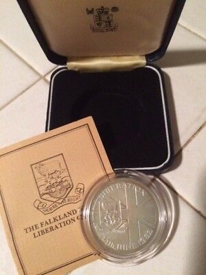 Proof UK Falkland Islands Sterling Silver Crown Coin w/box & COA like 1 oz Round