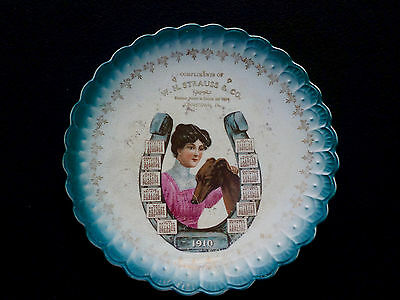 Rare Edwardian 1910 Advertising Plate Johnstown, Pa W.h. Strauss & Co Horseshoe