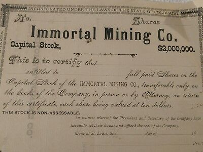 Old 1800s capital immortal mining STOCK CERTIFICATE Colorado MINE