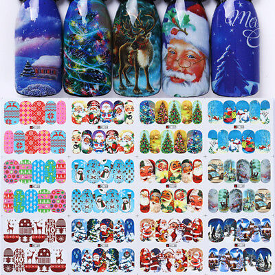 12 Patterns Water Decals Christmas Santa Claus Nail Art Transfer Stickers Tips