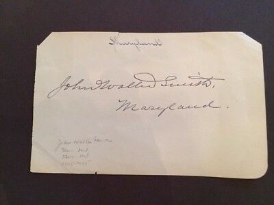 Scarce Signed Card- John Walter Smith- Maryland Governor 1900-1904- Snow Hill, M