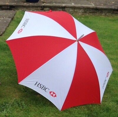 Large Red And White Golf Umbrella Advertisig HSBC NEW in Tube Wood Effect Handle