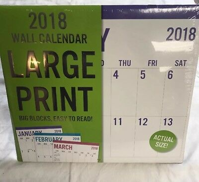 2018 Large Print Wall Calendars Big Blocks Numbers Easy Read Writing sections