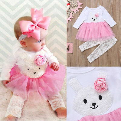 Newborn Kids Baby Girls Flower Bunny Lace Dress Top Pants Outfits Set Clothes US