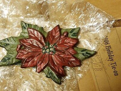 Longaberger 2006 Christmas Tie On - lot of 3 - NEW IN BOX Poinsettia FREE SHIP