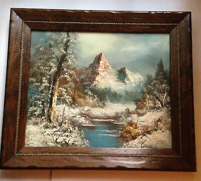 VTG 1965-1970s Signed R. Sutherland Oil Painting Winter Mountain Nature Scelne