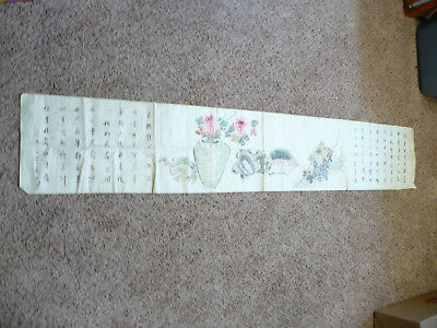 Rare True Antique Chinese? Japanes? Painting On Linen With Text And Signed -L@@k
