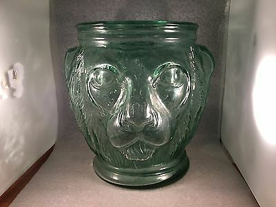 "Antique Lion Head 11.25"" Figural Aqua Green Glass Vase Planter Jar Pot Lionhead"