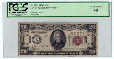 1934A $20.00 Hawaii Federal Reserve...l-A Block. Graded Pcgs Extremely Fine 40