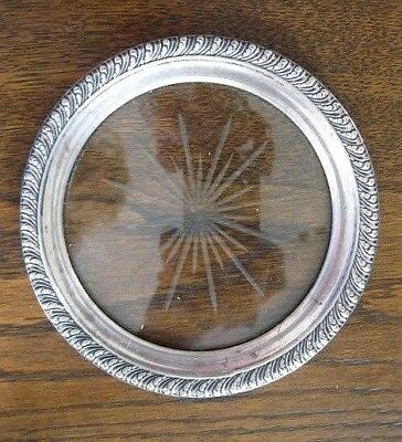 STERLING SILVER 925 BEADED, SUNBURST GLASS WINE COASTER signed W WHITING MFG