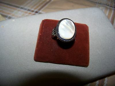 """Silver Plated Lg Oval Shaped """"MOTHER-OF-PEARL""""Silver Plated Ring"""