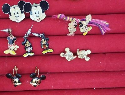 Disney Mickey Mouse Earrings button covers pins charms lot Vintage G