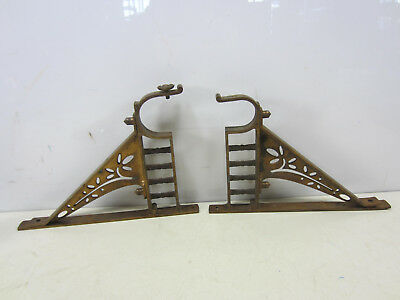 Antique Pair of Heavy Brass Victorian Curtain Rod Holders #3- Non-Matching
