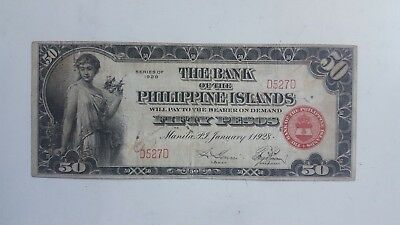 US Philippines Banknote 50 Pesos 1928 Bank of Phillipine Island VF extreme rare