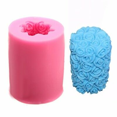 3D Rose Flower Candle Soap Silicone Mould Cylinder Wedding DIY Cake Craft Mold