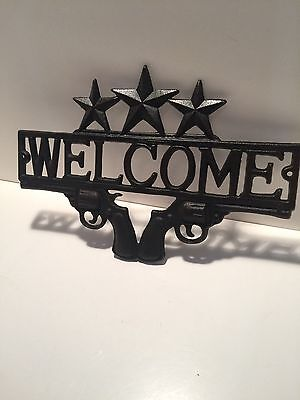 "NEW!  Metal Western Welcome Sign ""STARS & GUNS"""