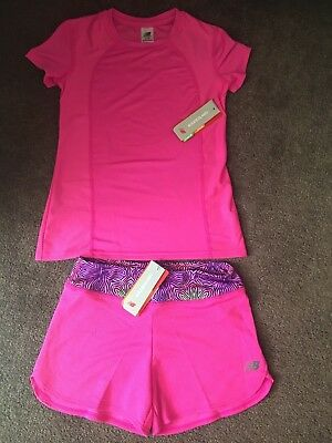 New Balance Girls Sports Shorts & T Shirt Set - Size Small (7 To 8 Years)- Bnwt!