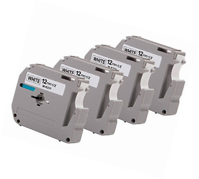 """4PK Onirii Compatible Brother P-touch M231 MK231 M-k231 Label Tape (0.47"""")12mm W"""