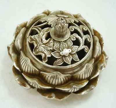 collectable Tibetan silver lotus flower figure censer beautiful incense burner