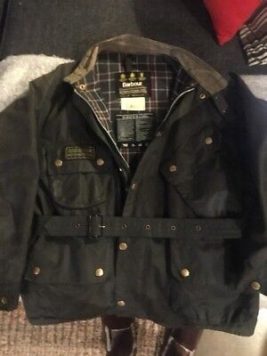 Vintage BARBOUR A7 INTERNATIONAL WAXED COTTON MOTORCYCLE JACKET C44/112 (L/XL)
