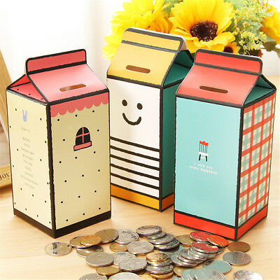 DIY piggy bank money box,milk box shape paper saving box storing coin box》