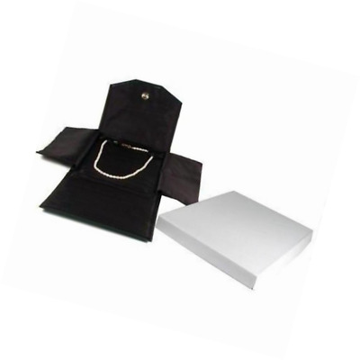 Black Leather Satin Necklace Jewelry Travel Folder Display Case