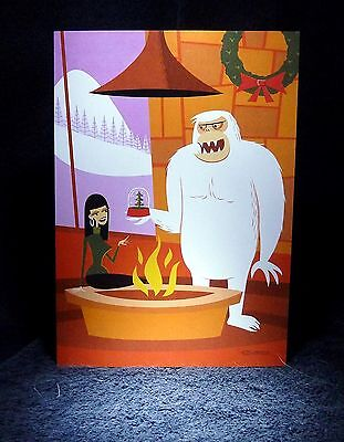 "SHAG Rare 2012 ""YETI + THE SNOWGLOBE"" Greeting Notecard - Josh Agle Pop Art -NEW"