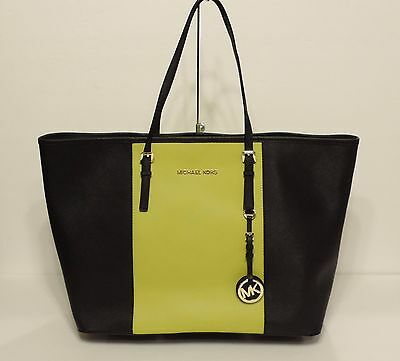 New MICHAEL Kors Jet Set Travel Center Stripe MD Tote saffiano leather  Apple bag 888ad44d97f90