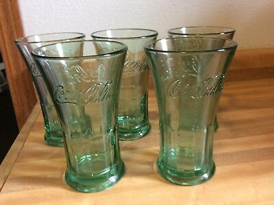 Vintage Coke COCA COLA Green Flared Glass Bell Tumblers 16 oz Heavy Set of 5