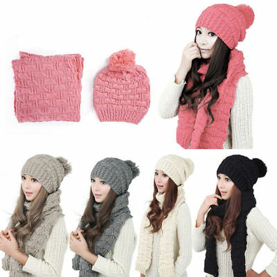 Winter Womens Ladies Wooly Thick Knit Hat And Scarf Set knitted Woollen New