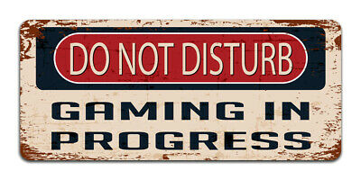 Do Not Disturb: Gaming In Progress - Vintage Metal Sign | Gamer Man cave Decor